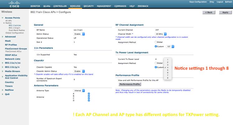 AP Tx Power in Cisco WLC – WiFiTodd